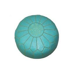 Leather Contemporary Round Ottoman (Morocco)