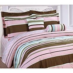 Microfiber Stripe Reversible 3-piece Comforter Set