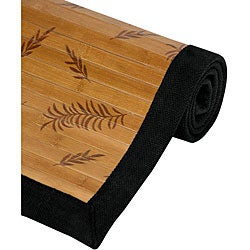 Asian 'Little Leaf' Bamboo Rug (4' x 6')