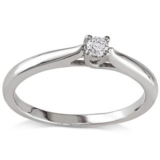 Haylee Jewels Sterling Silver 1/10ct TDW Diamond Solitaire Promise Ring (H-I, I2-I3)