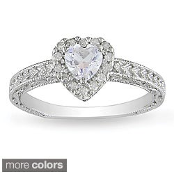 Miadora Silver Gemstone and 1/6ct TDW Diamond Ring (H-I, I3)