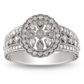 Sterling Silver 1/3ct TDW Round-cut Diamond Ring (H-I, I3)