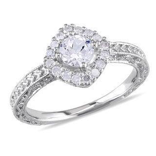 Miadora Silver Created Sapphire and 1/5ct TDW Diamond Ring (H-I, I3)
