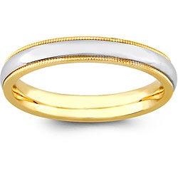 14k Two-tone Gold Women's Milligrain Comfort Fit Wedding Band (3.2 mm)