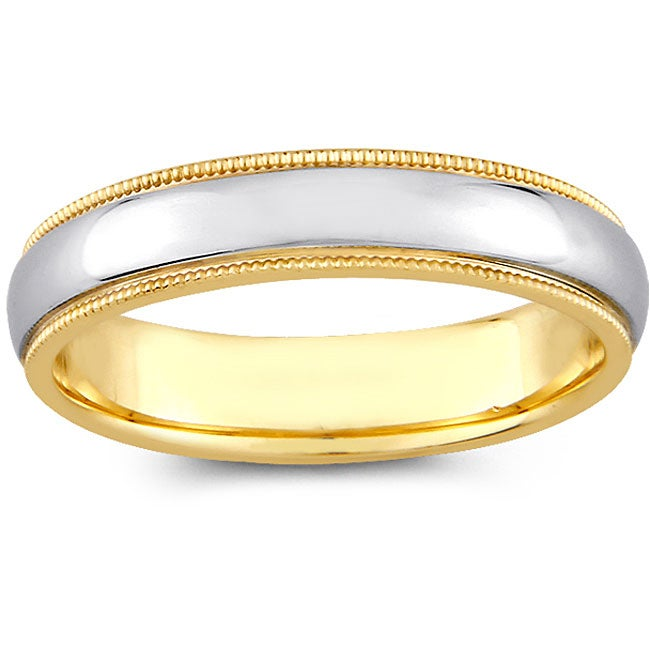 14k Two tone Gold Women s Milligrain fort Fit Wedding Band 4 mm Ov