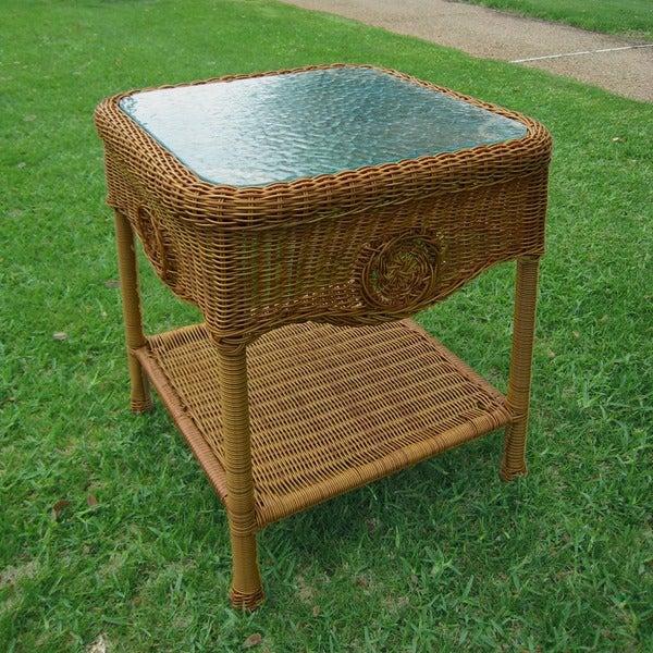 Wicker Coffee Table And End Tables: International Caravan Wicker Glass Top Side Table