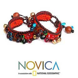 Set of 2 'Bold Orange Fortunes' Beaded Wristband Bracelets (Thailand)