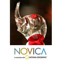 'Ruby Elephant' Murano Handblown Paperweight Sculpture (Brazil)