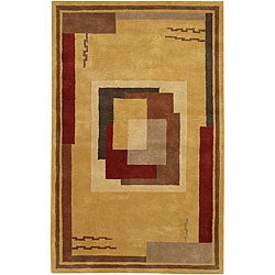 Hand-tufted Mandara Gold Geometric Wool Rug (7'9 x 10'6)