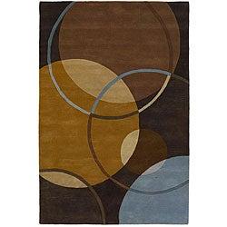 Hand-Tufted Mandara Brown/Blue/Gold Wool Rug (7'9 x 10'6)