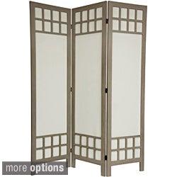 Wood/ Cotton Fabric Window Pane 5.5-foot Room Divider (China)