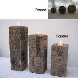 Set of 3 Lava Stone Candle Holders (Indonesia)