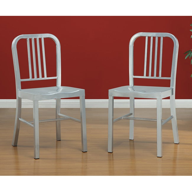 Steel Silvertone Side Chair (Set of 2)
