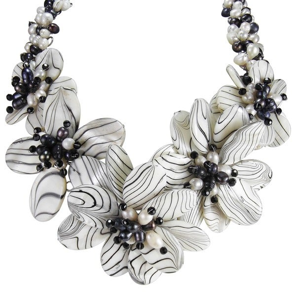 Sterling Silver Pearl and Painted Mother of Pearl Floral Necklace (Thailand)