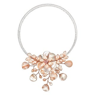 Memory Wire 'Flower Ray' Pink Pearl and Mother of Pearl Choker (Thailand)