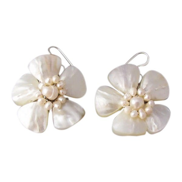 Sterling Silver Mother of Pearl Flower and Pearl Earrings (Thailand)