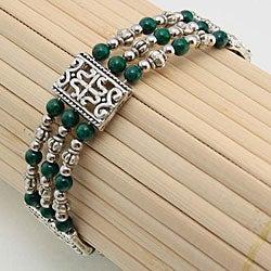 Tibetan Silver Malachite Bangle Bracelet (China)
