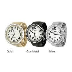 Geneva Platinum Women's Round Face Stretch Watch