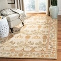 Handmade Ancestral Tree Ivory/ Green Wool Rug (8&#39; Square)