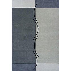 Hand-loomed Grey Squiggles Wool Rug (8' x 10')