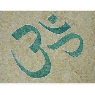 Yoga and Meditation 'Om' Symbol Inspirational Healing Stone - Marble Tile