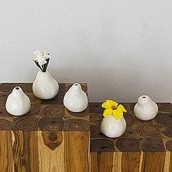 Set of 5 Ceramic White Pear-shaped Vases (Thailand)