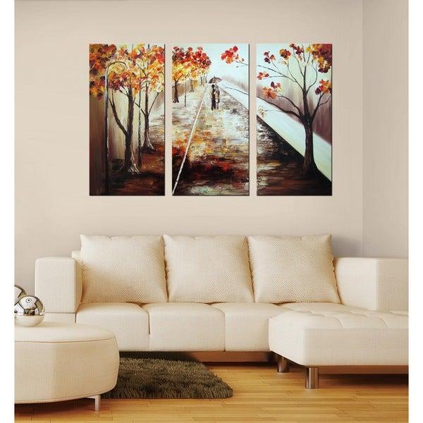 'A Walk in the Rain' Hand-painted Canvas Art Set