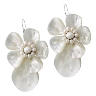 Sterling Silver Mother of Pearl Shell and Pearl Earrings (Thailand)