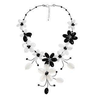 Stainless Steel Black Agate and Moonstone Flower Necklace (Thailand)