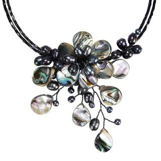 Memory Wire Black Shell and Freshwater Pearl Flower Necklace (Thailand)