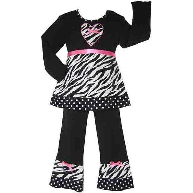 Ann Loren Boutique Girl's Zebra and Dots Shirt and Pants Set