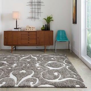 Jullian Charcoal Grey/ Brown Shag Rug (7'7 x 7'7)