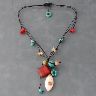 Copper and Cotton Rope Gemstone Necklace (Thailand)