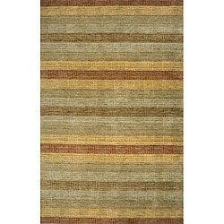 Hand-loomed Multi-color Stripes Wool Rug (8' x 11')