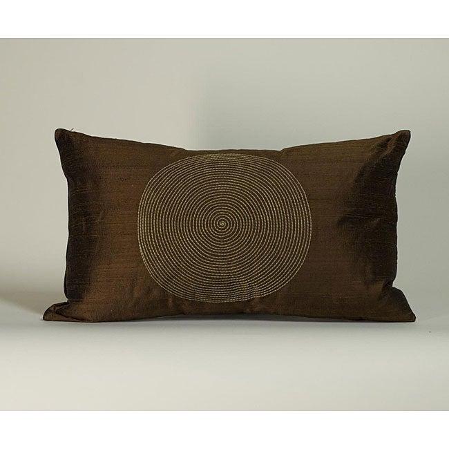 'Spiral' Chocolate 12X20-inch Decorative Pillow
