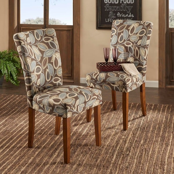 TRIBECCA HOME Leaf Print Accent Parson Side Chairs (Set of 2)