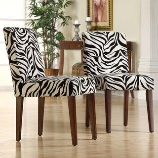 TRIBECCA HOME Calista Zebra Print Dining Chairs (Set of 2)