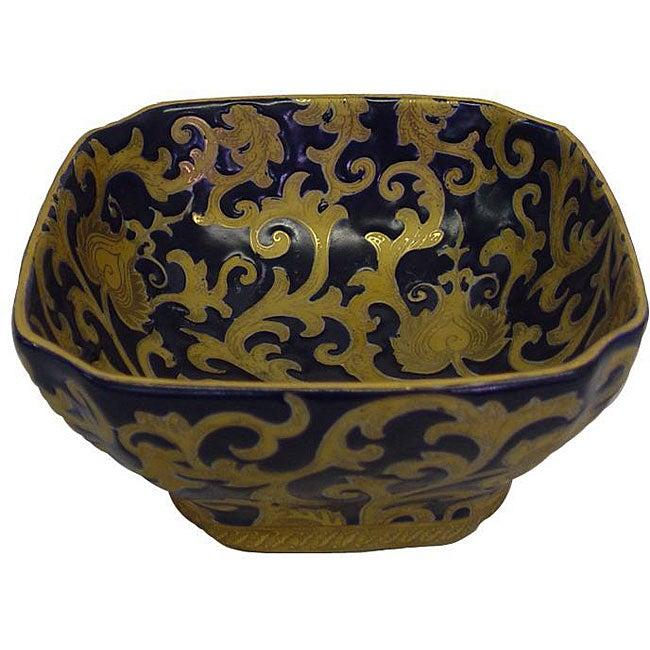 Porcelain Blue and Gold Square Bowl
