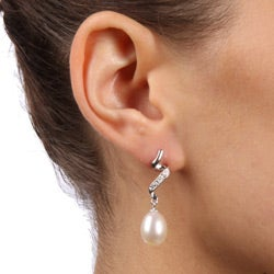 Kabella Sterling Silver White Freshwater Pearl and Cubic Zirconia Earrings