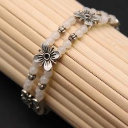 Tibetan Silver White Jade Floral Bracelet (China)