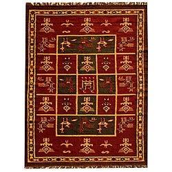 Hand-woven Arya Red Jute/ Wool Rug (5' x 8')