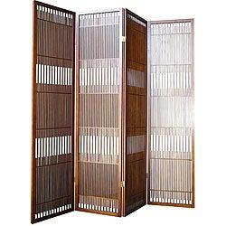 Walnut Wood 4-panel Room Divider