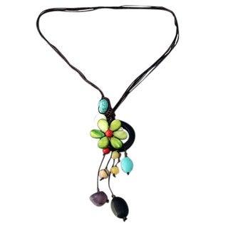 Handmade Drop Cluster Multistone Green Flower Pendant Necklace (Thailand)