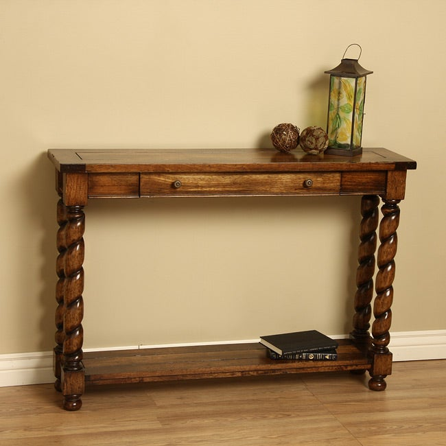 Wood Barley Swirl Console Table (Indonesia)