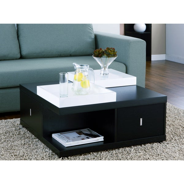 Furniture of America Mareines Black Coffee Table with Serving Trays