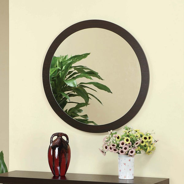 Furniture of America Taree Round Red Cocoa Mirror