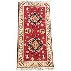 Indo Hand-Knotted Kazak Geometric Red Wool Rug (2' x 4')