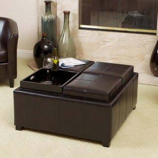 Christopher Knight Home Mason Bonded Leather Espresso Tray Top Storage Ottoman
