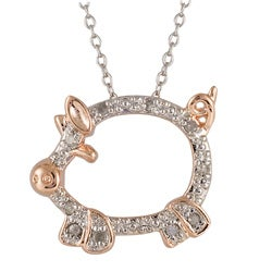 Silver and Rose Gold 1/10ct TDW Diamond Pig Critter Necklace (I-J, I3)