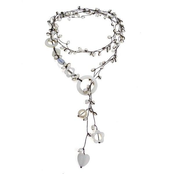 Cotton Pearl/ Quartz/ Mother of Pearl Wrap Lariat Necklace (3-6 mm) (Thailand)